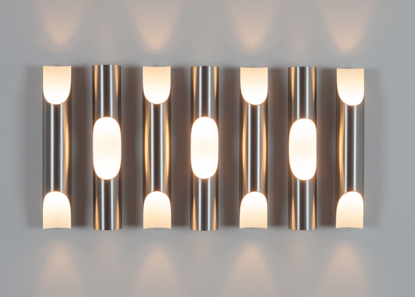 Set of Eight Fuga Wall Lights by Maija Liisa Komulainen, Raak, Amsterdam, 1970s (lp)