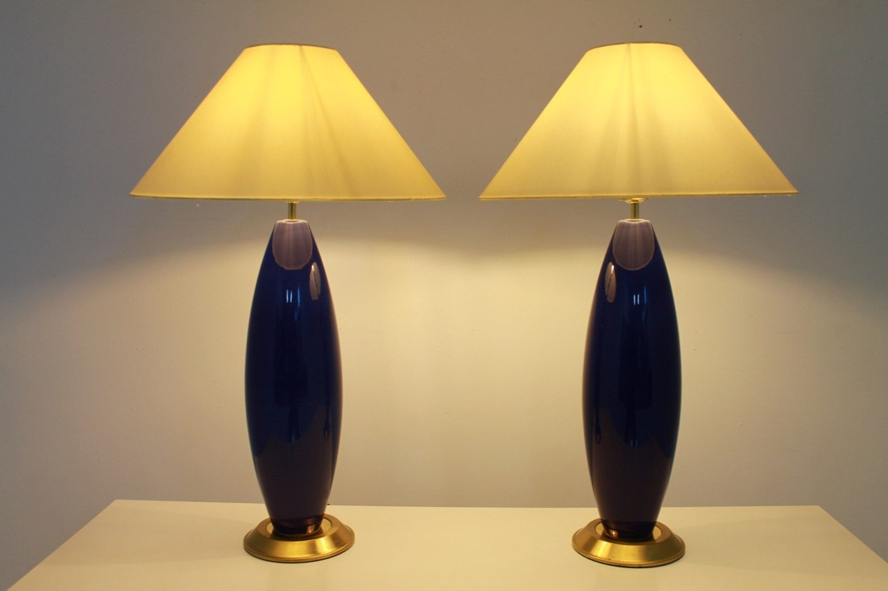 Pair of Blue Table or Floor Lamps, 1970s (lp)