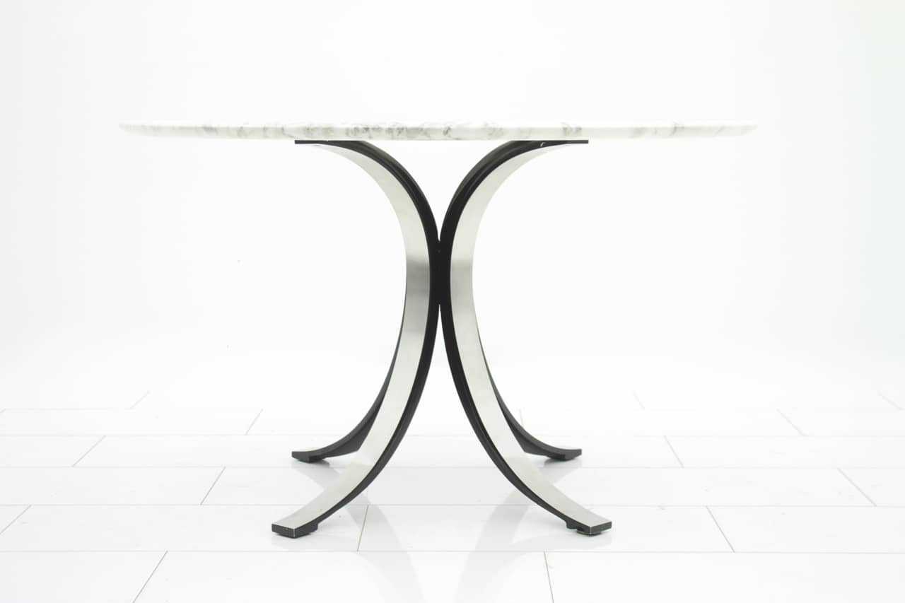 Round Dining Table by Osvaldo Borsani with Marble Top, Tecno 1960s (t)