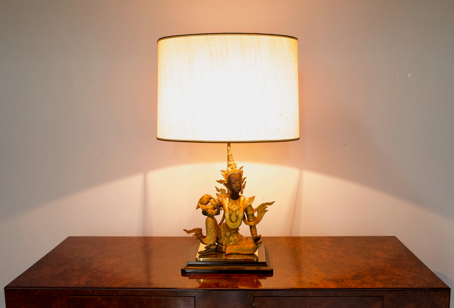 French Buddha Brass and Wood Table lamp 1970s