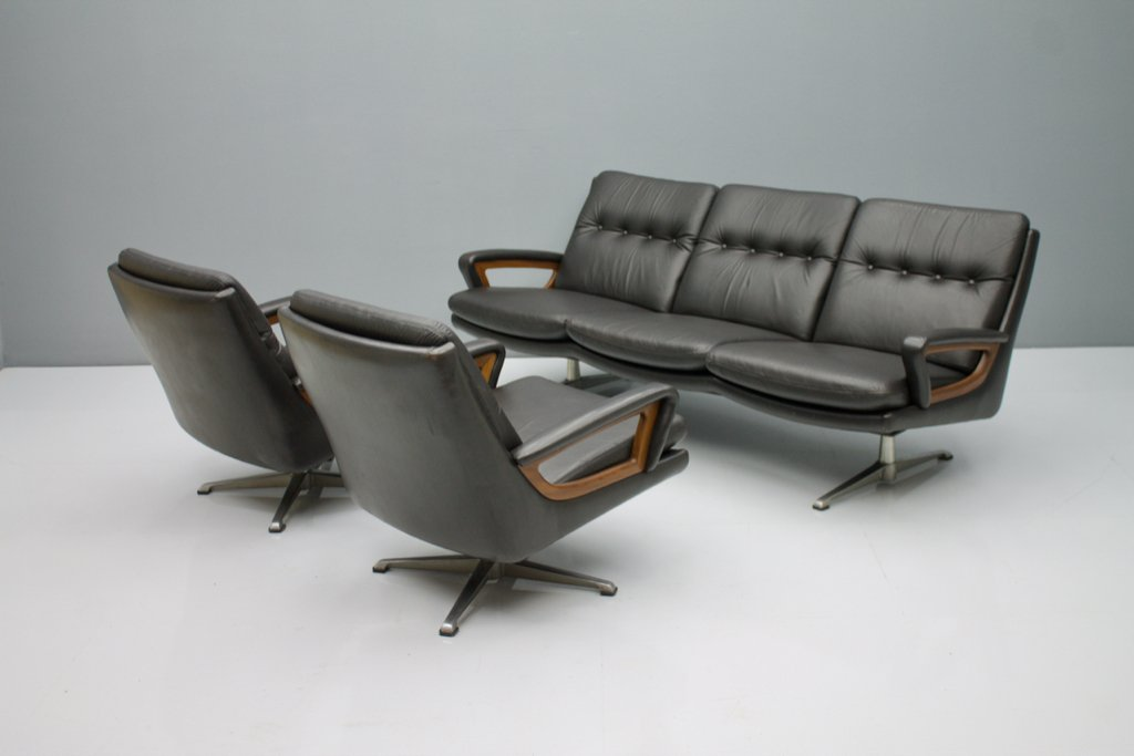 Leather Sofa by Carl Straub Germayn 1960s