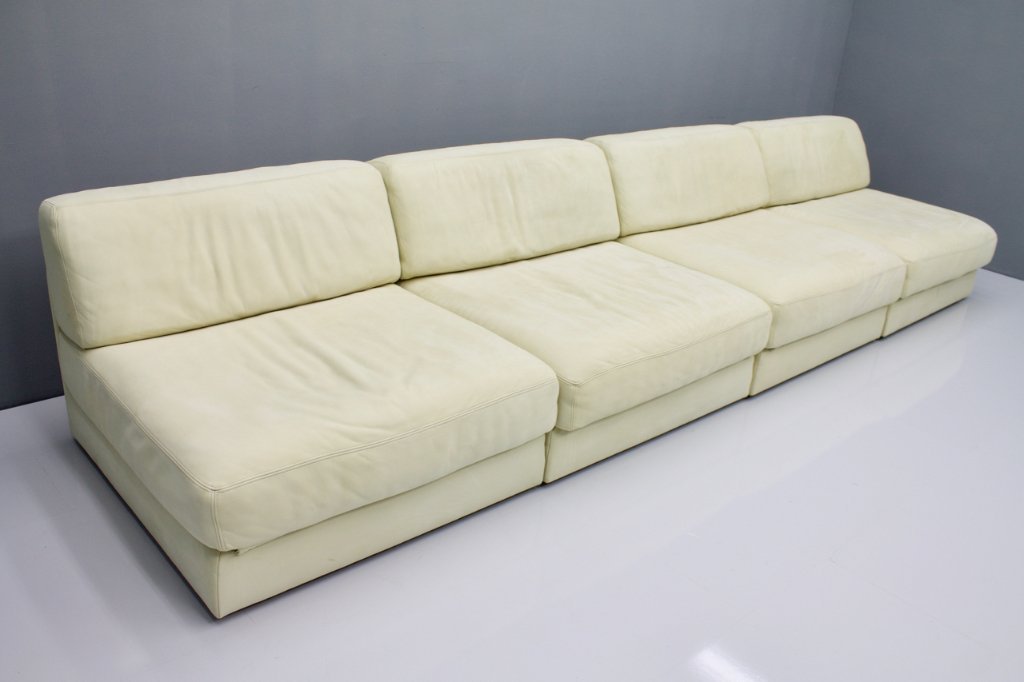 Set of Four Cream White Leather Modular Sofa Elements DS 76 De Sede, Switzerland 1970s