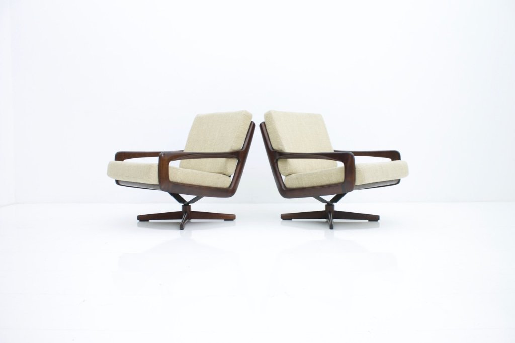 Pair of Swivel Lounge Chairs by Eugen Schmidt Germany 1960s