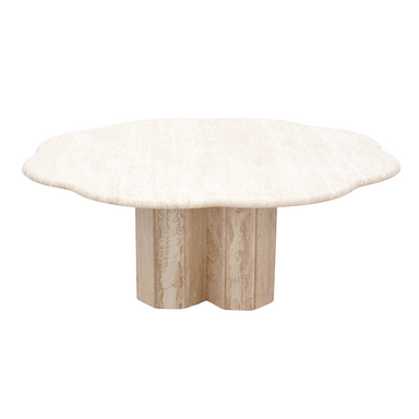 Flower Travertine Coffee Table, coffee table, table, stone, beige, modern, natural furniture, 70s, italy, modern