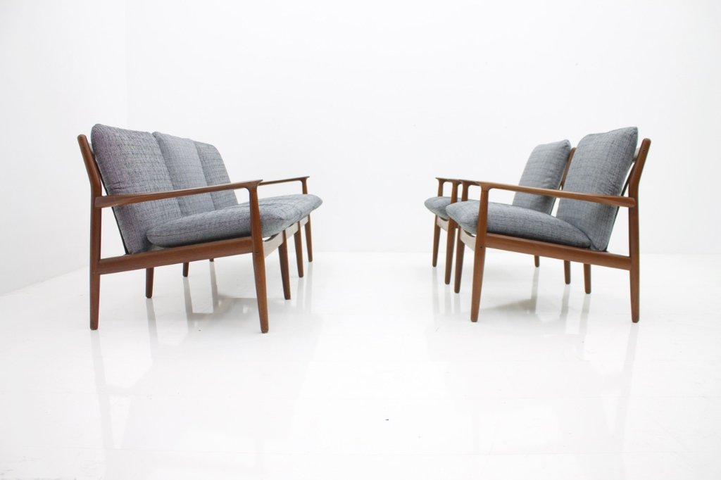 Grete Jalk Chairs and Sofa for Glostrup Denmark 1960s