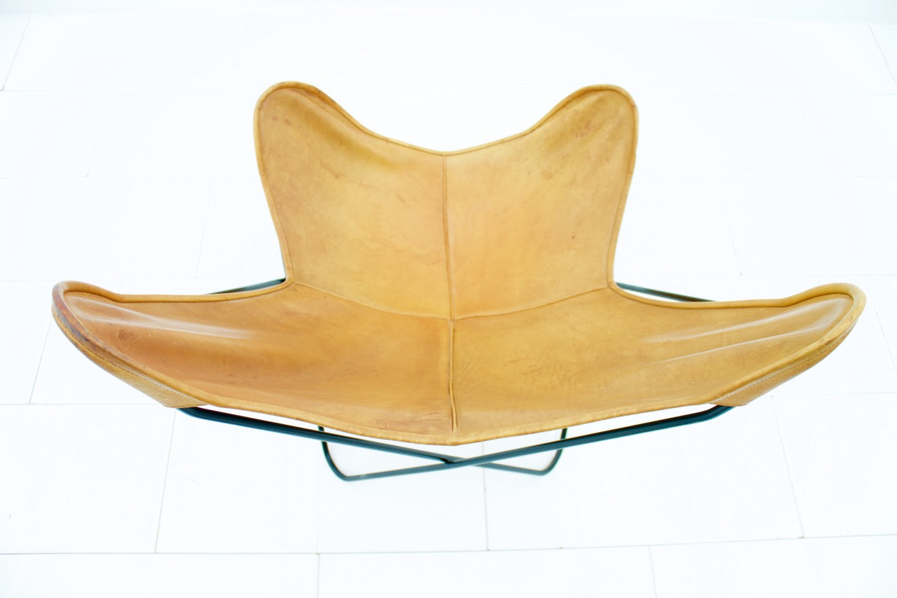 Butterfly Chair by Jorge Hardoy in Leather, Knoll 1950s (l)