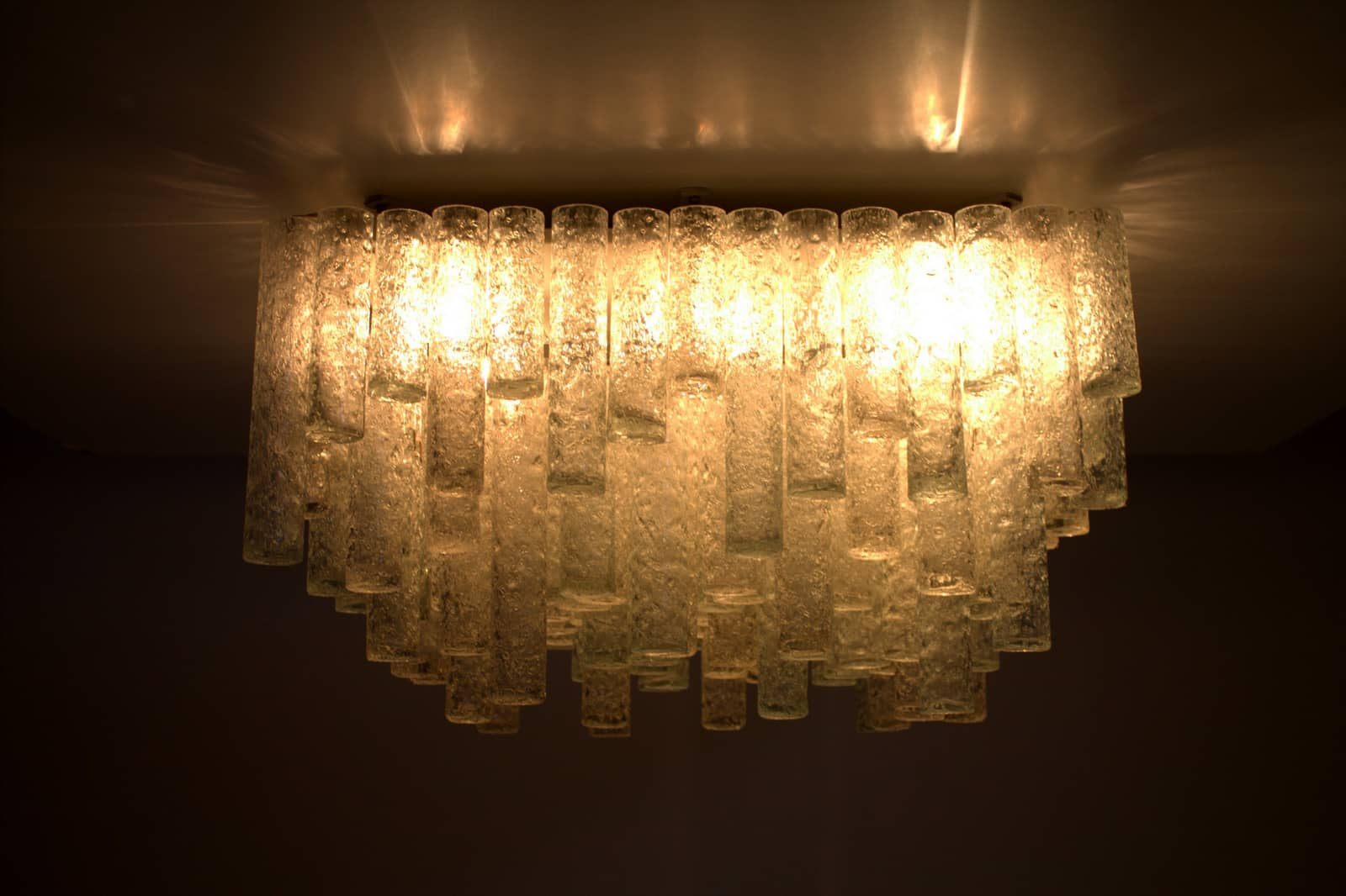 Large Square Glass Flush Mount Chandelier, Doria 1960`s (lp)