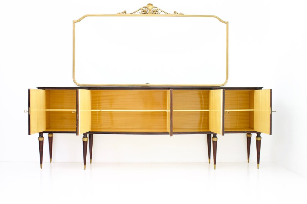 Italian Sideboard Credenza with Mirror, 1959