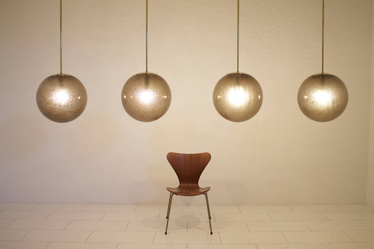 Set of Four Large Ball Lamps with Extra Length Brass Rods by Limburg, Germany (lp)