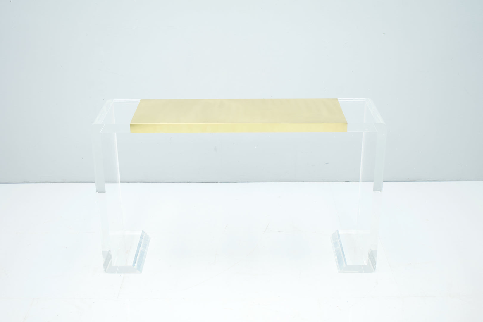 Lucite and Brass Console Table or Vanity or Small Writing Desk, France 1970s
