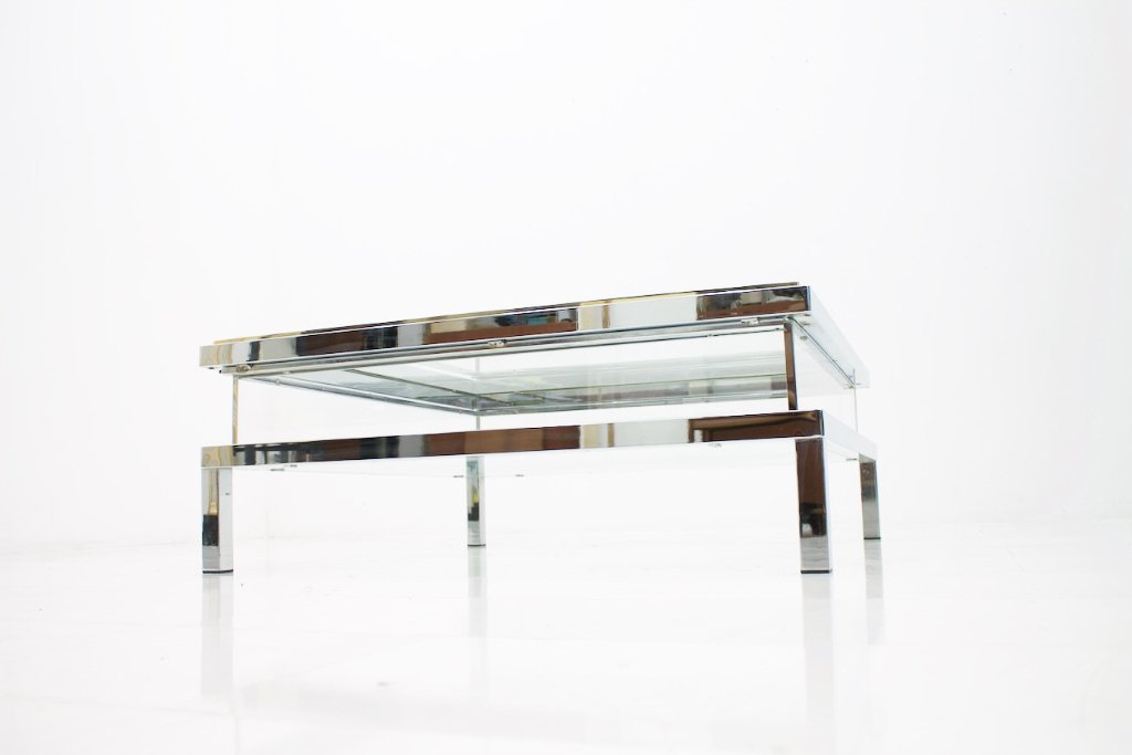 Maison Jansen Vitrine Coffee Tabe with a Sliding Top, France 1970s