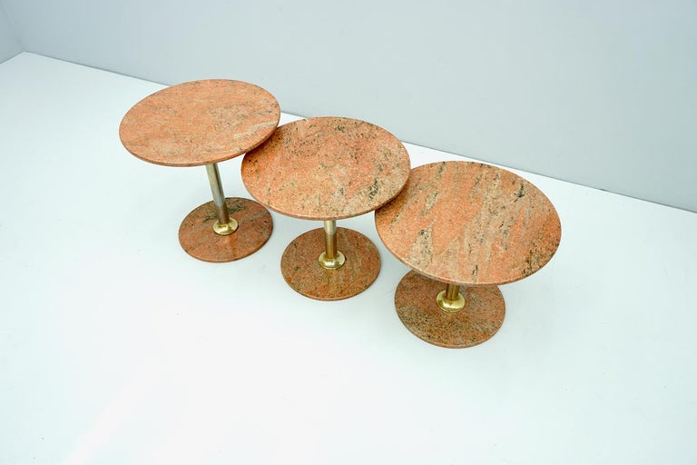 Set of Three Red Marble and Brass Side or Nesting Tables, 1970s