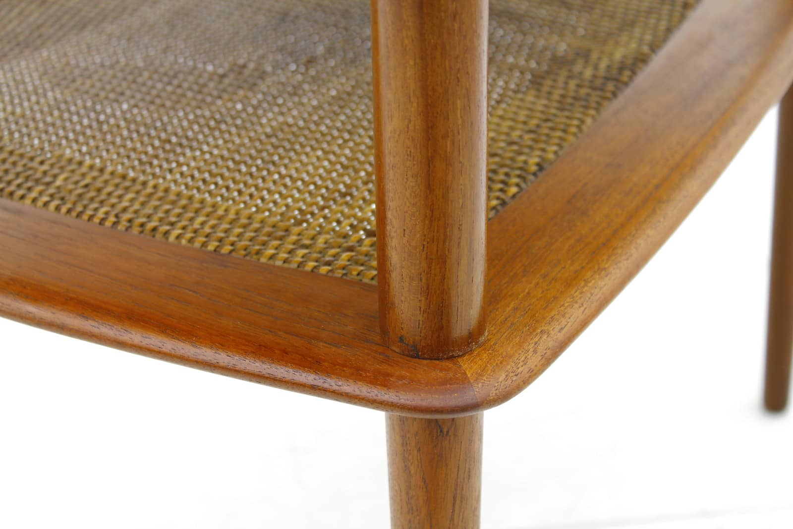 Peter Hvidt End Table in Teak and Cane, 1950s