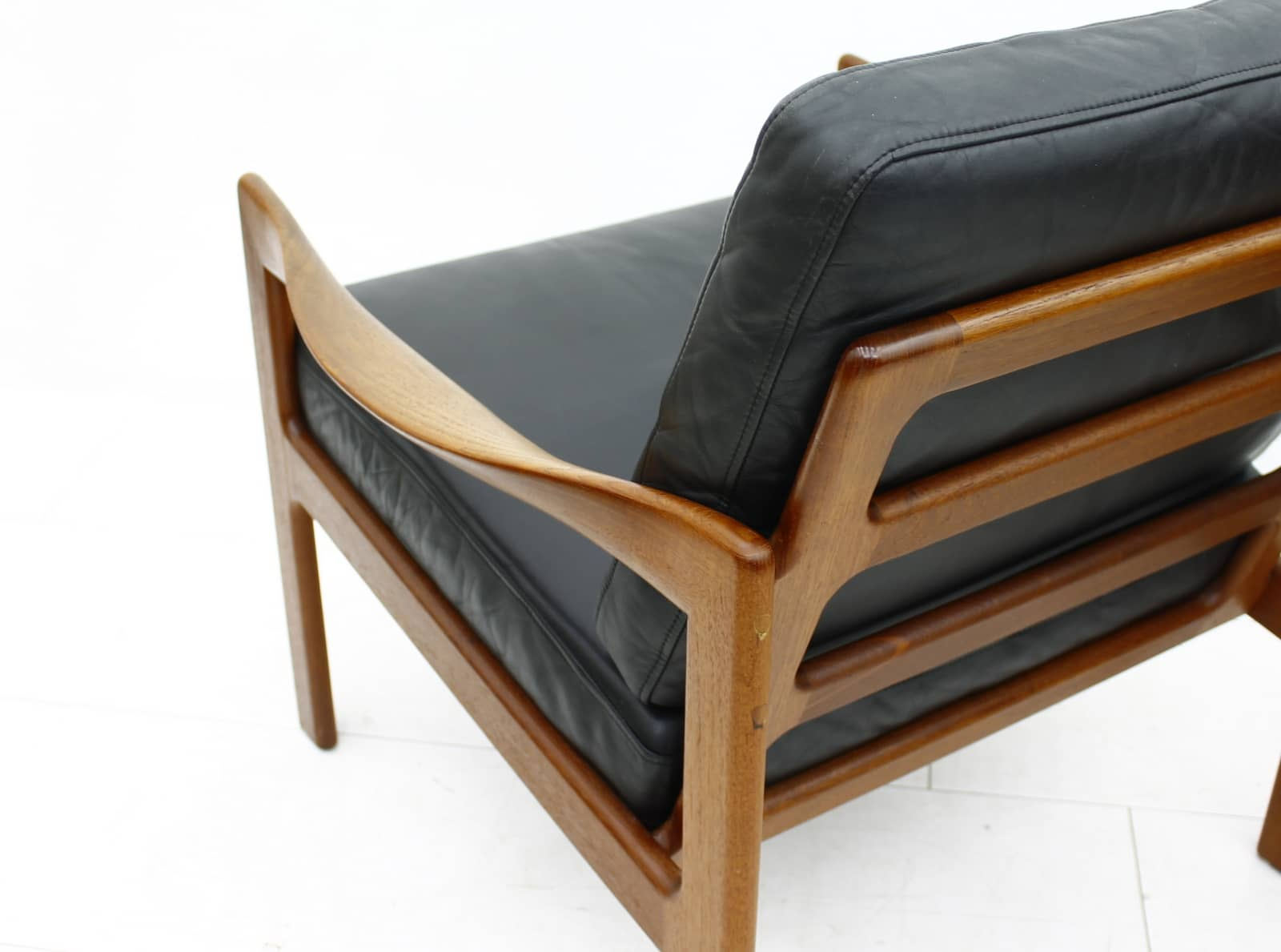 Pair Illum Wikkelso Lounge Chairs, Teak & Leather