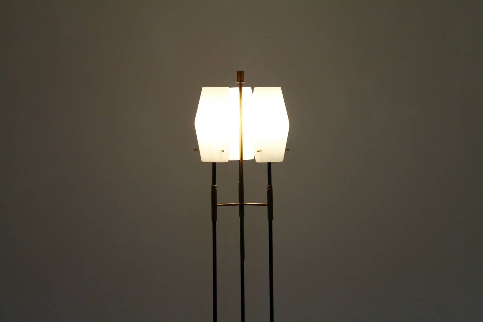 Italian Floor Lamp, Glass & Brass, ca. 1960`s (lp)