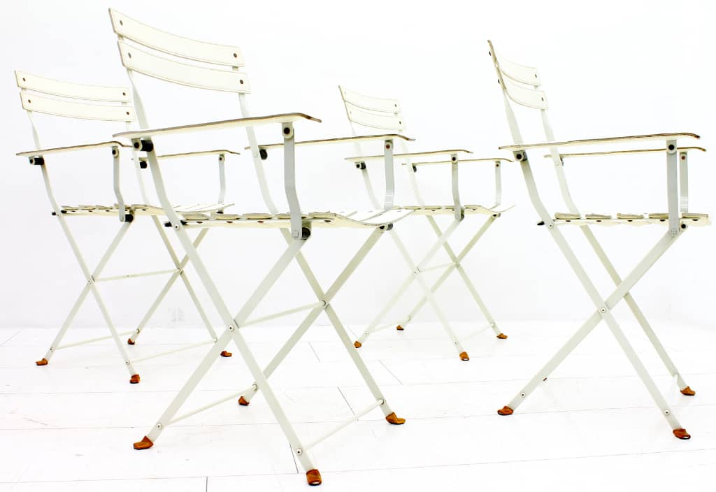 Rare Set of 4 Marco Zanuso Leather Folding Chairs