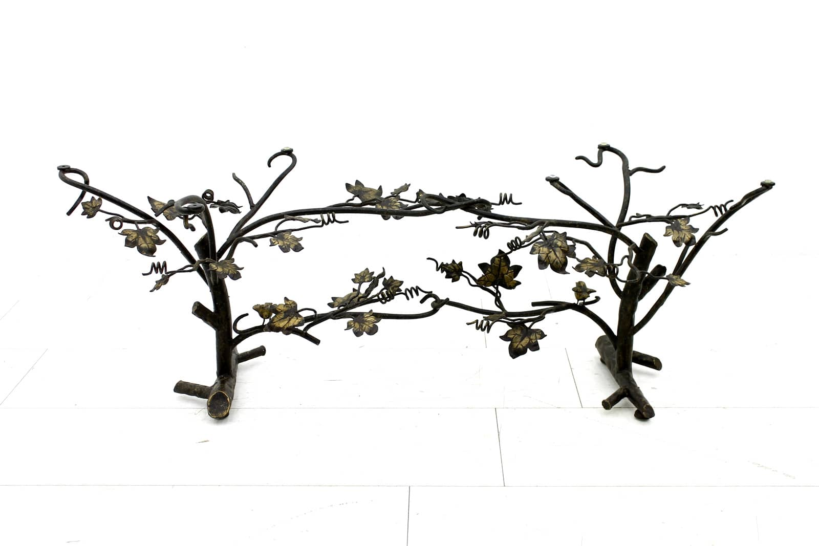 Beautiful Sofa Table in Metal and Glass with Tree and Birds, France circa 1970s (t)