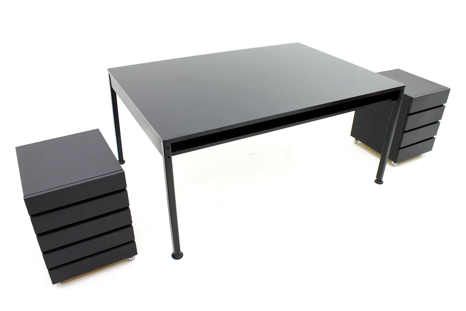 Rare Dieter Rams Partner Desk with two Container, Vitsoe, 1957 (t)