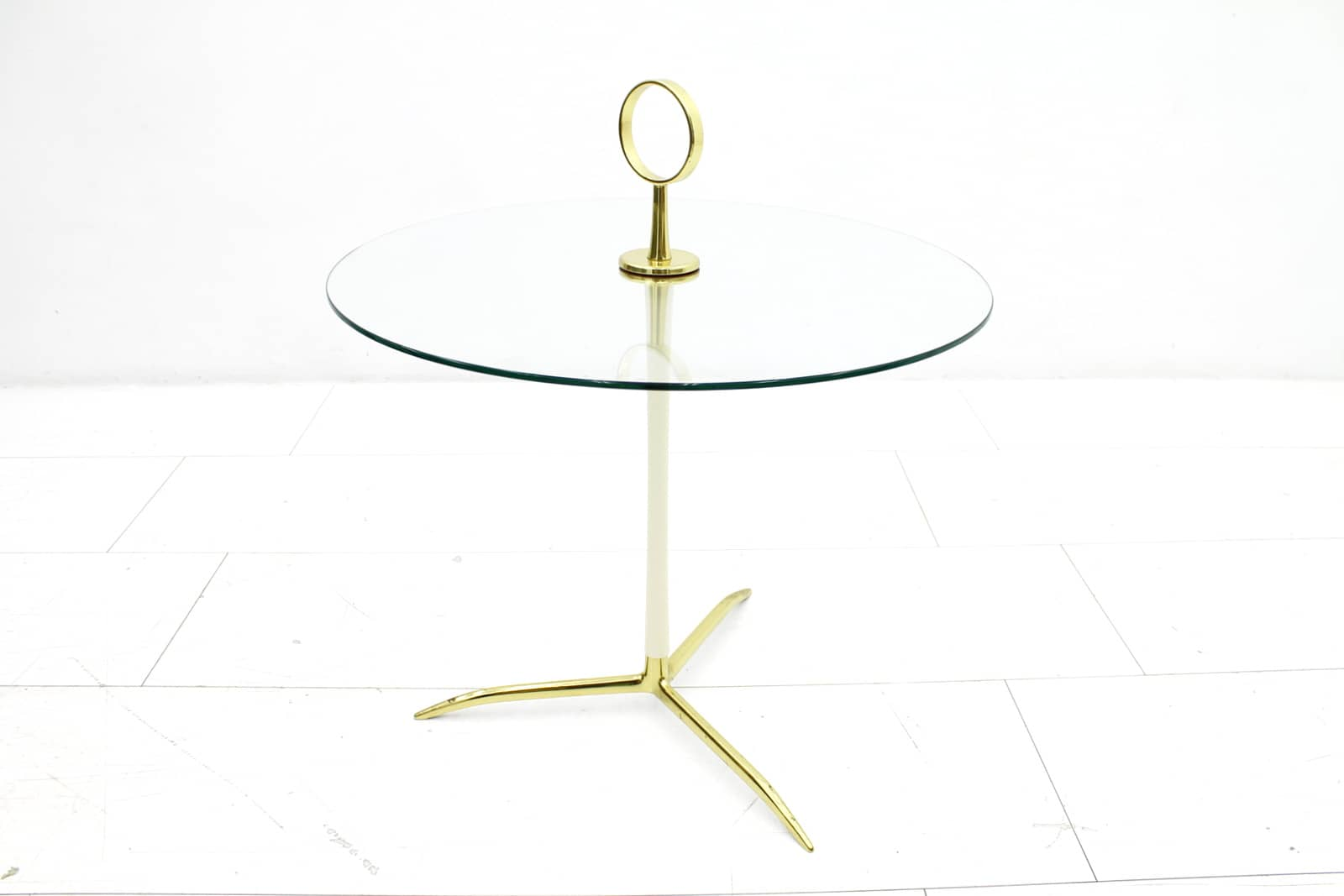 Glass & Brass Side Table, 1950`s (t)