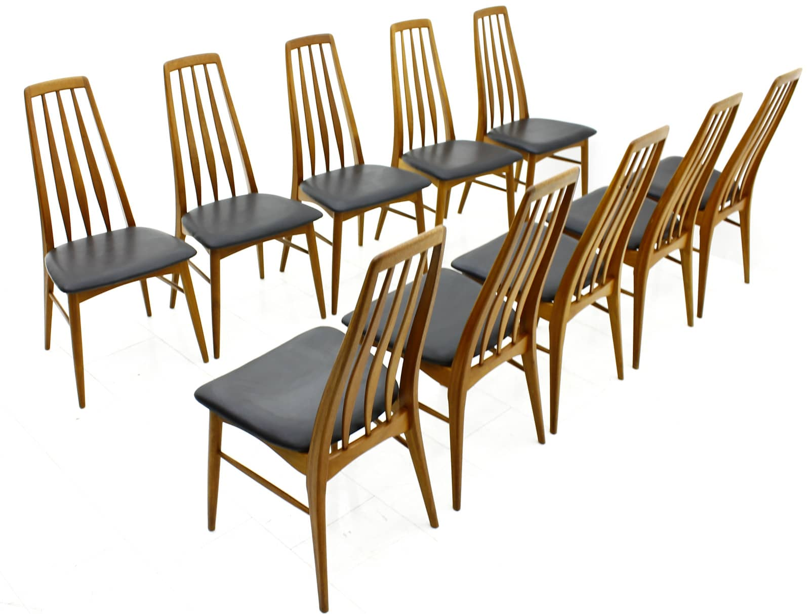 10 x Danish Dining Chairs, Teak & Leather, Niels Koefoed