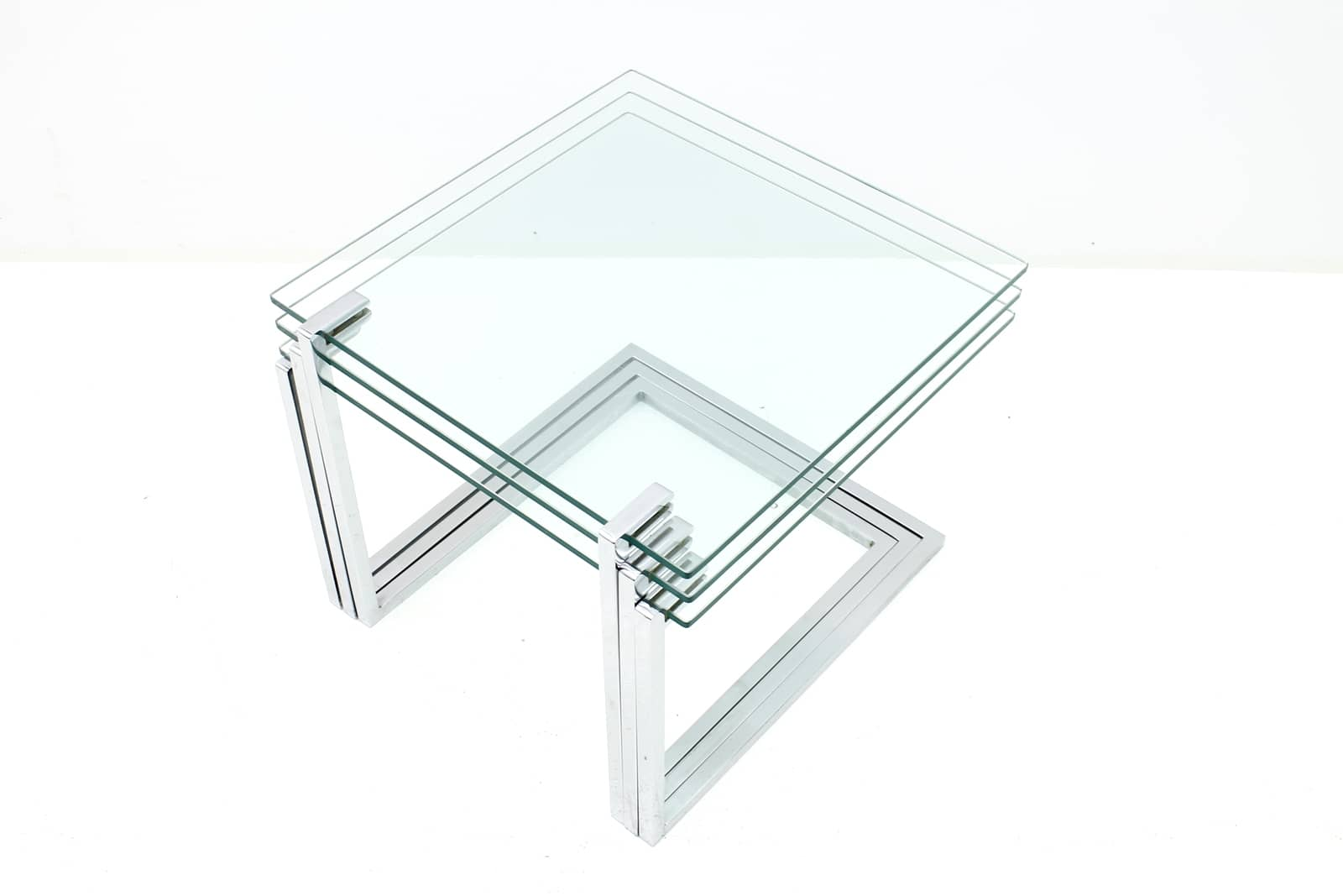 Glass and Chrome Nesting Tables, circa 1970s