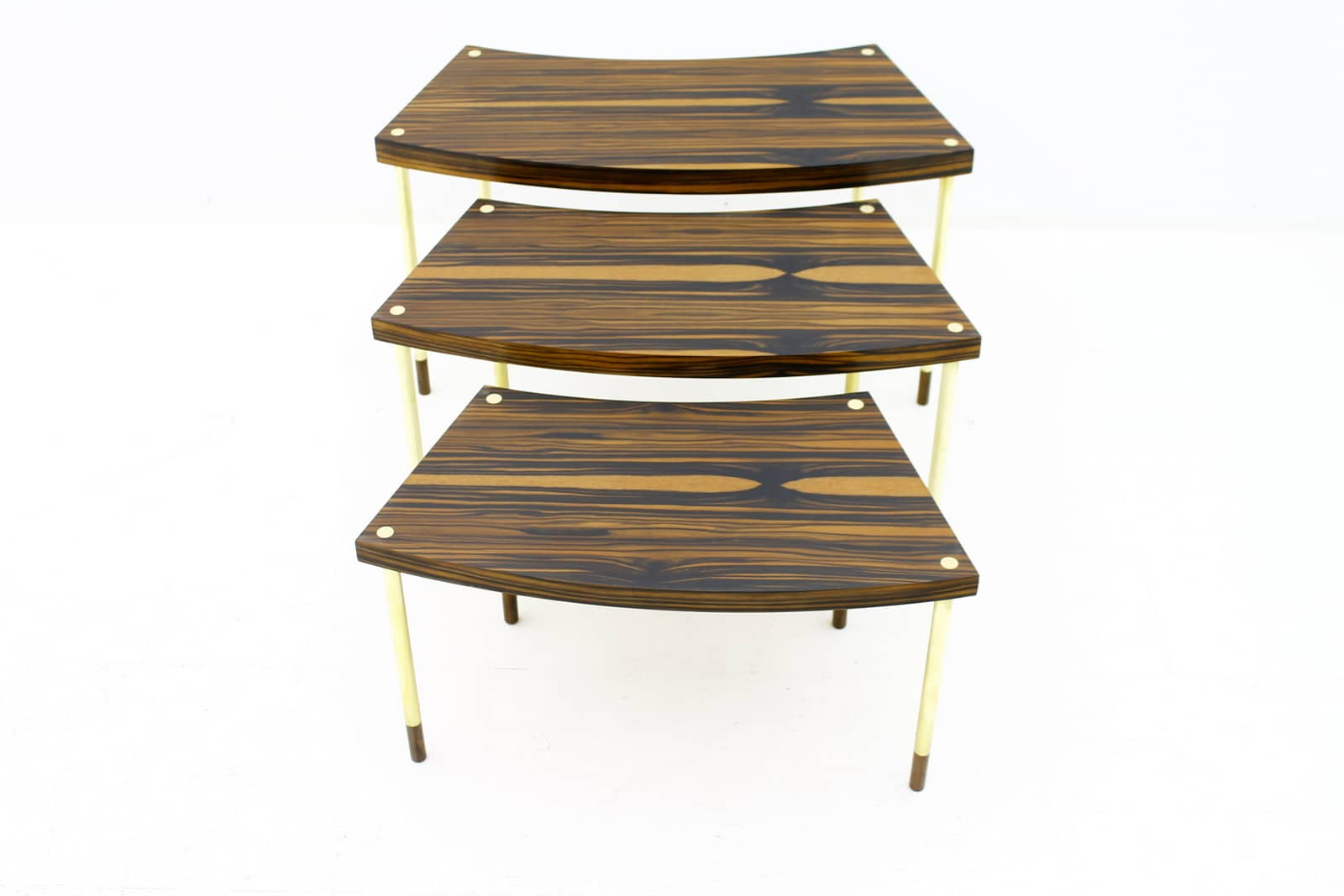 Nesting Tables in Macassar and Brass, 1970s