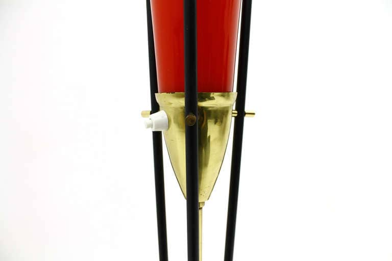 Murano Floor Lamp Marble, Brass and Glass, Italy, circa 1950s (lp)