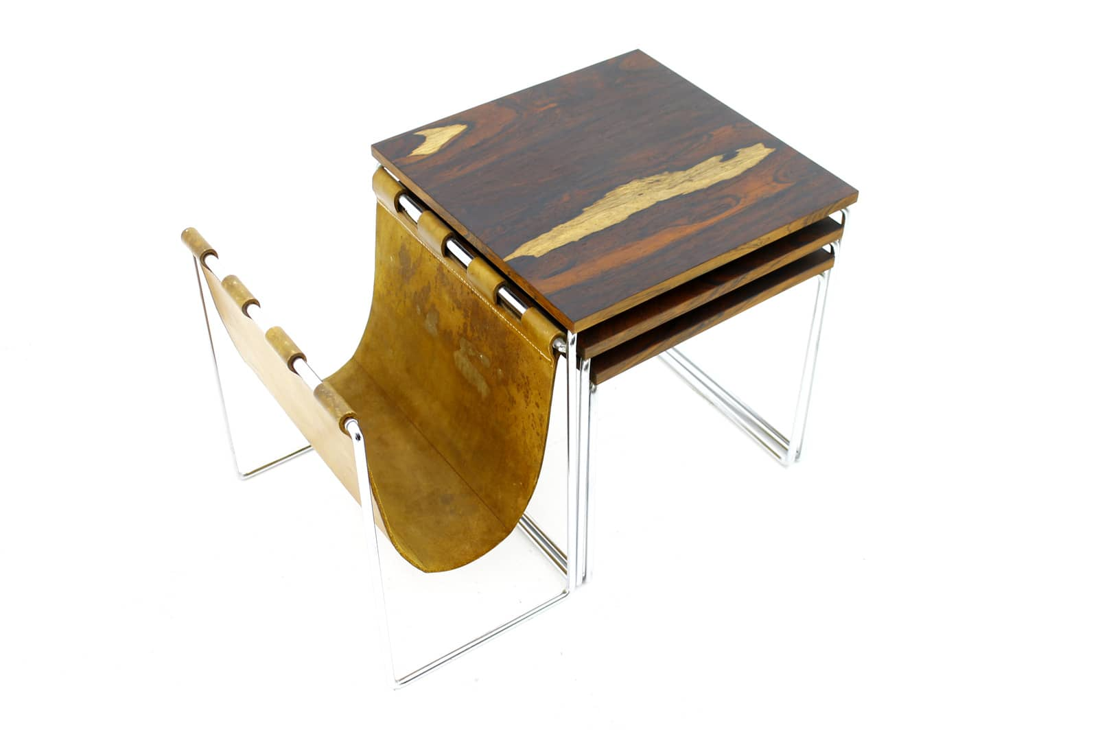 Beautiful Nesting Tables with Magazine Rack in Rosewood, Leather and Steel