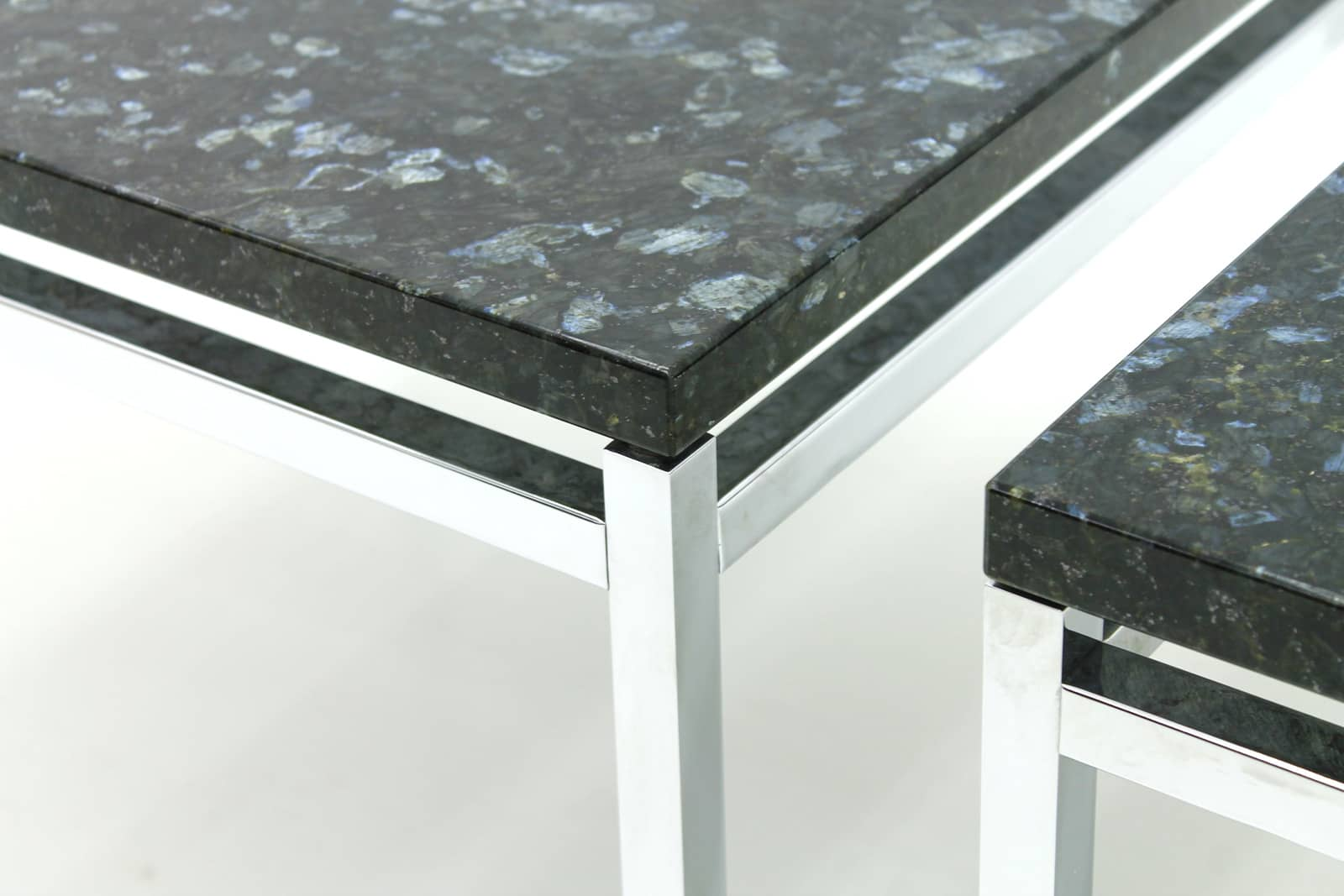 Pair of Side Tables in Labrador Granite and Steel, 1970s (t)