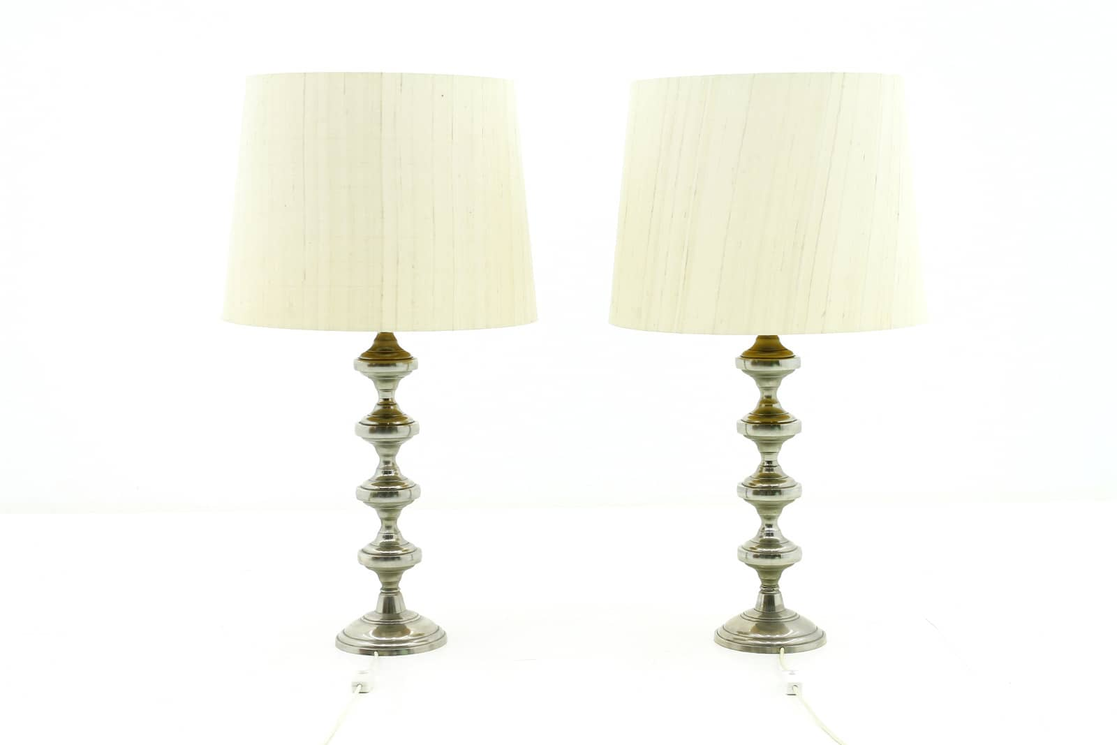 Nice Pair Decorative Metall Table Lamps, 1970s. (tl)(lp)