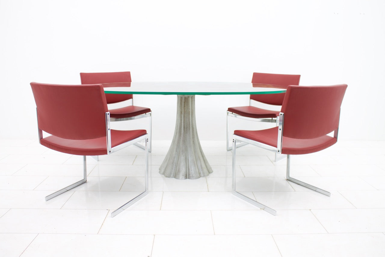 Oval Dining Table with Mirrored Glass Top, 1970s (t)