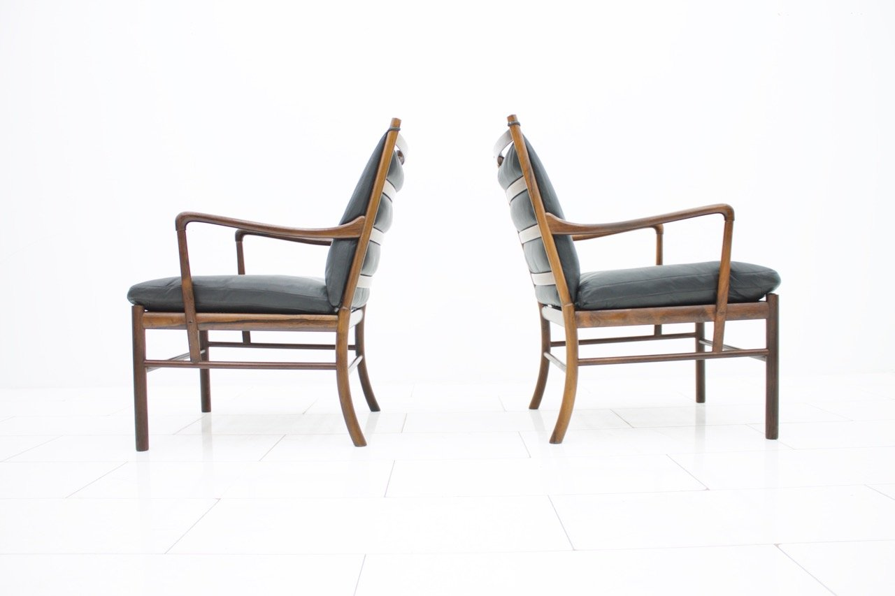 Pair of Colonial Chairs with Stool by Ole Wanscher, Poul Jeppesen, Denmark (L)