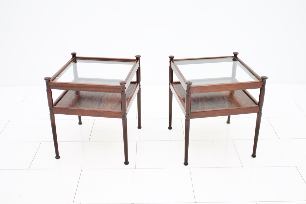 Pair of Side Tables in Rosewood and Glass, 1960s (t)