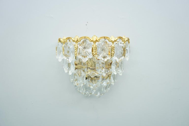 Pair of Palwa Wall Sconces Lights Brass and Crystal Glass, 1960s