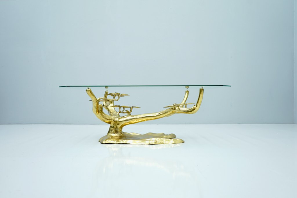 Willy Daro Bonsai Coffee Table in Brass & Glass 1970s