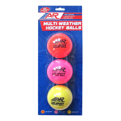 A&R Low Bounce Multi Weather Hockey Balls 3-Pack