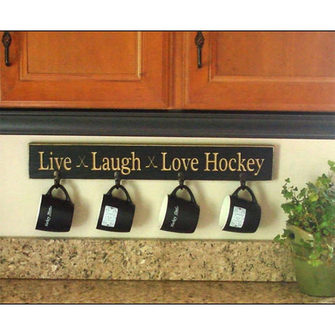 """Live Laugh Love Hockey"" Coat/Mug Rack"