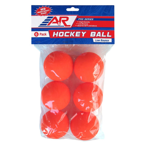 A&R Low Bounce Orange Street Hockey Balls - 6 Pack