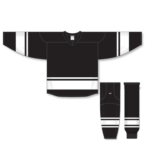 Athletic Knit Custom Black/White 6400 Jersey - Discount Hockey