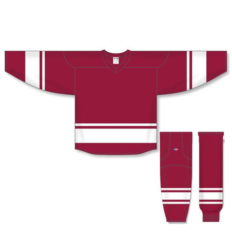 Athletic Knit Custom Burgundy/White 6400 Jersey - Discount Hockey