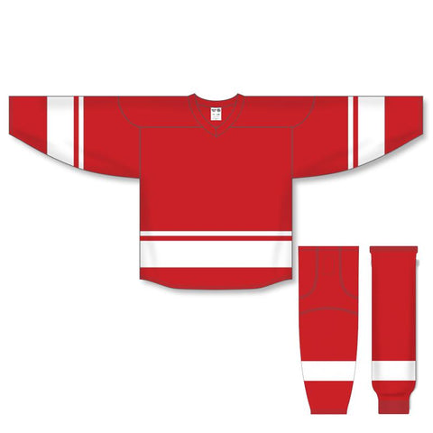 Athletic Knit Custom Red/White 6400 Jersey - Discount Hockey