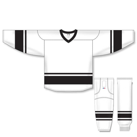 Athletic Knit Custom White/Black 6400 Jersey - Discount Hockey
