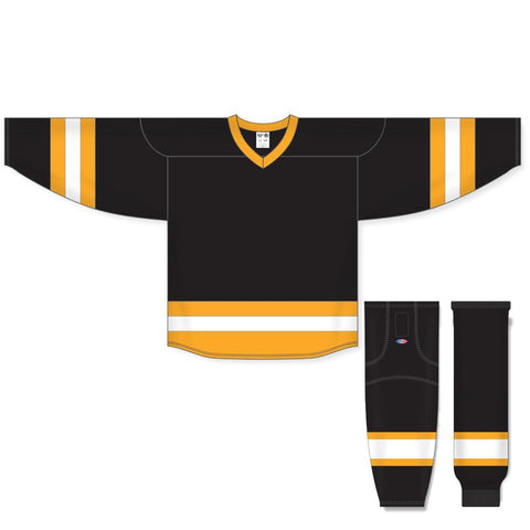 Athletic Knit Custom Black/Gold/White 6500 Jersey - Discount Hockey