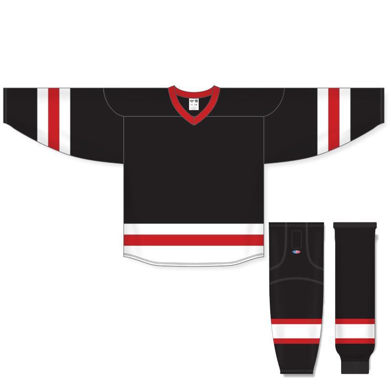 72bcda2d57a Athletic Knit Custom Black White Red 6500 Jersey - Discount Hockey