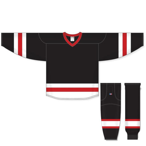 Athletic Knit Custom Black/White/Red 6500 Jersey - Discount Hockey