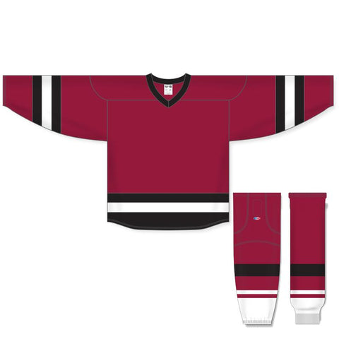 Athletic Knit Custom Burgundy/Black/White 6500 Jersey - Discount Hockey