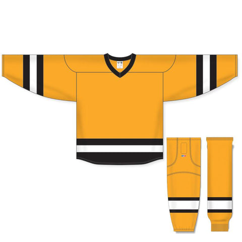 Athletic Knit Custom Gold/Black/White 6500 Jersey - Discount Hockey