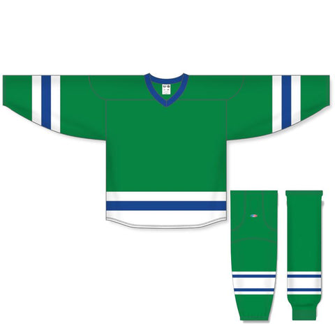 Athletic Knit Custom Kelly/White/Royal 6500 Jersey - Discount Hockey