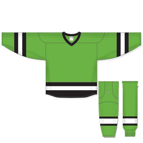 Athletic Knit Custom Lime Green/Black/White 6500 Jersey - Discount Hockey