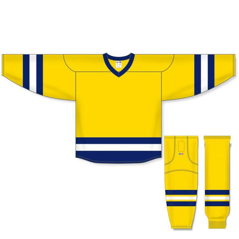 Athletic Knit Custom Maize/Navy/White 6500 Jersey - Discount Hockey
